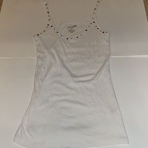 Grane tank with embellished straps and neckline